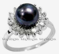 Charming! Natural Black Akoya Cultured pearl ring size 6 7 8 9 AAA Grade