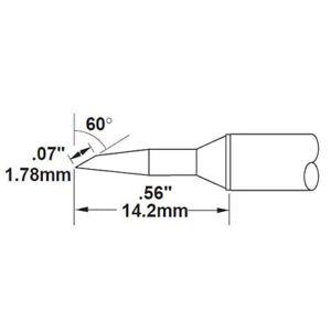 Metcal STTC-147P-PK STTC 700 60 deg./.07inx.25in Bevel Cartridge(10)