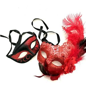 Red Masquerade Lace Feather Mask Couple Costume Cosplay Birthday Dress up Party