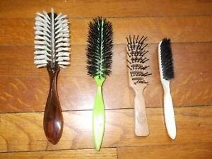 4 Vintage Used Hair Brushes Nylon Bristles Goody Wood Grain Handle ROUND Tease