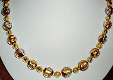 Breathtaking Yellow and White Gold and Red Murano Glass Necklace