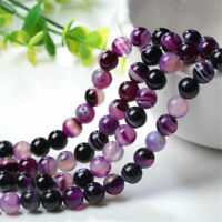 4/6/8/10/12mm Natural Purple Stripe Banded Agate Round Gemstone Loose Beads