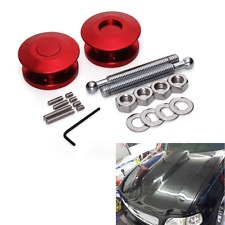 2pcs Red JDM Style Push Button Billet Hood Pins Lock Clip Kit Car Quick Pins