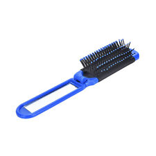 Portable Travel Folding Hair Brush With Mirror Compact Pocket Size Comb 3c Blue