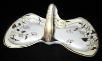 Hand Painted Nippon Bow Shape Handled Tray Gold Flowers