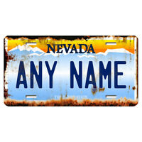 US Metal License Plate - Nevada Rusted, Personalise your own plate
