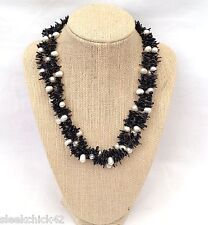 STERLING SILVER.925 Brown Branch-Stick/White Fresh Water Pearl STRANDED Necklace