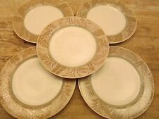 """Set 5 EPOCH Collection PANAMA Pattern 10.75"""" DINNER PLATES Palm Leaf Leaves Tan"""