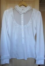 Max & Co. White Long Sleeve Cotton Blouse with Front Lace Panel, Size UK12