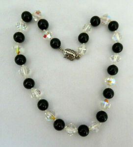 "Genuine Black Onyx & Cut Crystal Bead Necklace ~ 15 1/2"""