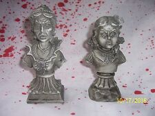 """Set of 2    6"""" Tall Vampire Woman & Girl Bust Haunted House Statue Prop New"""