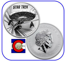 2016 Tuvalu Star Trek Original U.S.S. Enterprise 1 oz silver coin in airtite