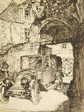 Georges GOBO (1876-1958)eau forte automobile VOITURE ANCIENNE San Francisco Rezé