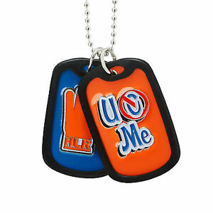 John Cena Blue Orange WWE Never Give Up Pendant with silver link chain