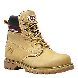 V12 Safety Work Boots Boulder Steel Toe Cap Honey Leather Safety Boots V1237