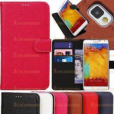 Cartera De Cuero Libro Funda con soporte 4 Samsung Galaxy Note 3 N9000 N9005