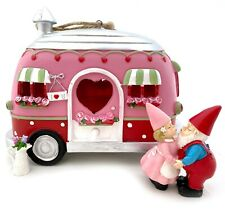 Pink Valentine's Camper Trailer House Gnome Figure Couple Miniature FAIRY GARDEN