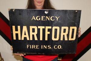 """Vintage c.1920 Agency Hartford Fire Insurance Gas Oil 20"""" Porcelain Metal Sign"""