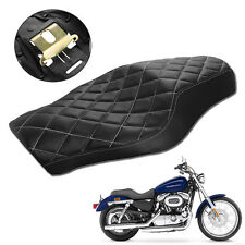 Black Driver Passenger Seat Two Up Seat For Harley Sportster Super Low XL883L