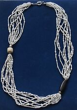 SILPADA Necklace Multi Strand Beads 925 Sterling Silver Bamboo Coral Pen Shell