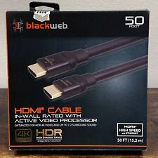 New listing Blackweb 50 Foot Hdmi Cable In Wall Rated w/ Active Video Processor 4K Nib! 94