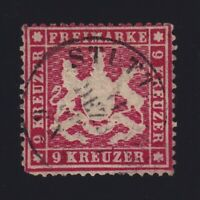 Germany Wurttemberg Sc #27 (1861) 9kr rose Coat of Arms Used CDS