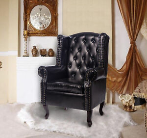 PU Leather High Back Chair Queen Style Armchair Seat Cushion Backrest