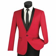 VINCI Men's Red Shawl Collar One Button Slim Fit Formal Tuxedo Suit NEW