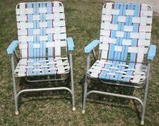 2 Vintage Mid Century Aluminum Chair Folding Lawn Patio Pair Light Blue Webbing