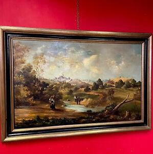 Quadro antico dipinto a ad olio su tela 900 grande paesaggio con cornice dorata