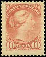 Canada #45 mint F-VF OG HR 1897 Queen Victoria 10c brown red Small Queen