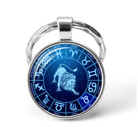 Zodiac Sign Key chain Horoscope Astrology keychain Birthday Blue USA SELLER