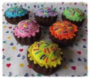 ♡♡6 PASTEL SPRINKLE ICED CAKES PLAY FAKE TOY FELT FOOD DECORATION TEACHING AID♡♡