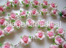 beautiful Pink Soft Cerami BEADS ROSE ROSARY & CROSS Catholic Crucifix Necklace