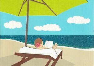 Papyrus Mother's Day card - Reading at the Beach Ocean - Cloth Umbrella, Lounge