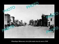 OLD LARGE HISTORIC PHOTO OF WINNEBAGO MINNESOTA, THE MAIN ST & STORES c1940