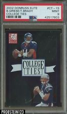 2002 Donruss Elite College Ties Tom Brady Patriots /1600 PSA 9 MINT LOW POP