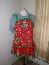 New listing Handmade Cotton Full Adult'S Apron-Green & Red Christmas/Gingerbread