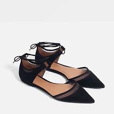 Zara Black Mesh D'orsay Shoes,size 38
