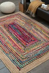 Rug Natural Jute & Cotton handmade Reversible Modern living area carpet rag rug