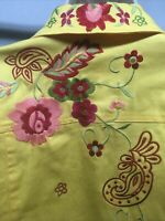 Coldwater Creek Shirt Jacket XXL Embroidered Floral Print Button LS Yellow