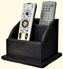 New Primitive Country Rustic BLACK WOOD BOX Remote Control Holder Organizer