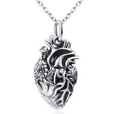 Unisex Sterling Silver Anatomical Heart Necklace Love Heart Pendant Punk Jewelry