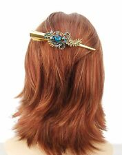 Gold Ornate 13.5cm Concorde Beak Clip Hair Accessory Turquoise Crystal Design