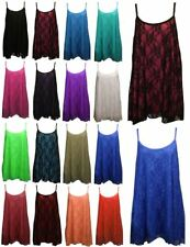 LADIES WOMENS FLORAL LACE MESH STRAPPY CAMISOLE SWING DRESS VEST CAMI TOPS 12-30