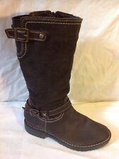Girls Brown Leather Boots Size 32