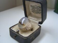 SUPERB VINTAGE SOLID STERLING SILVER MOSS AGATE SIGNET PINKY RING SIZE N HEAVY