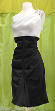 R&M RICHARDS Embellished One Shoulder black white cocktail party dress 14 L $128