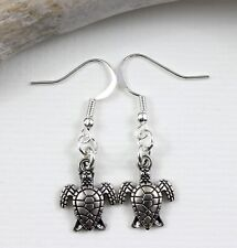 Cute Turtle Charm Earrings - Dangle Drop Silver Tone Kitch Jewellery Animal