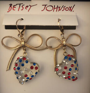 Betsey Johnson Gold Tone Hearts On Fire Red, White and Blue Dangly Earrings NIB